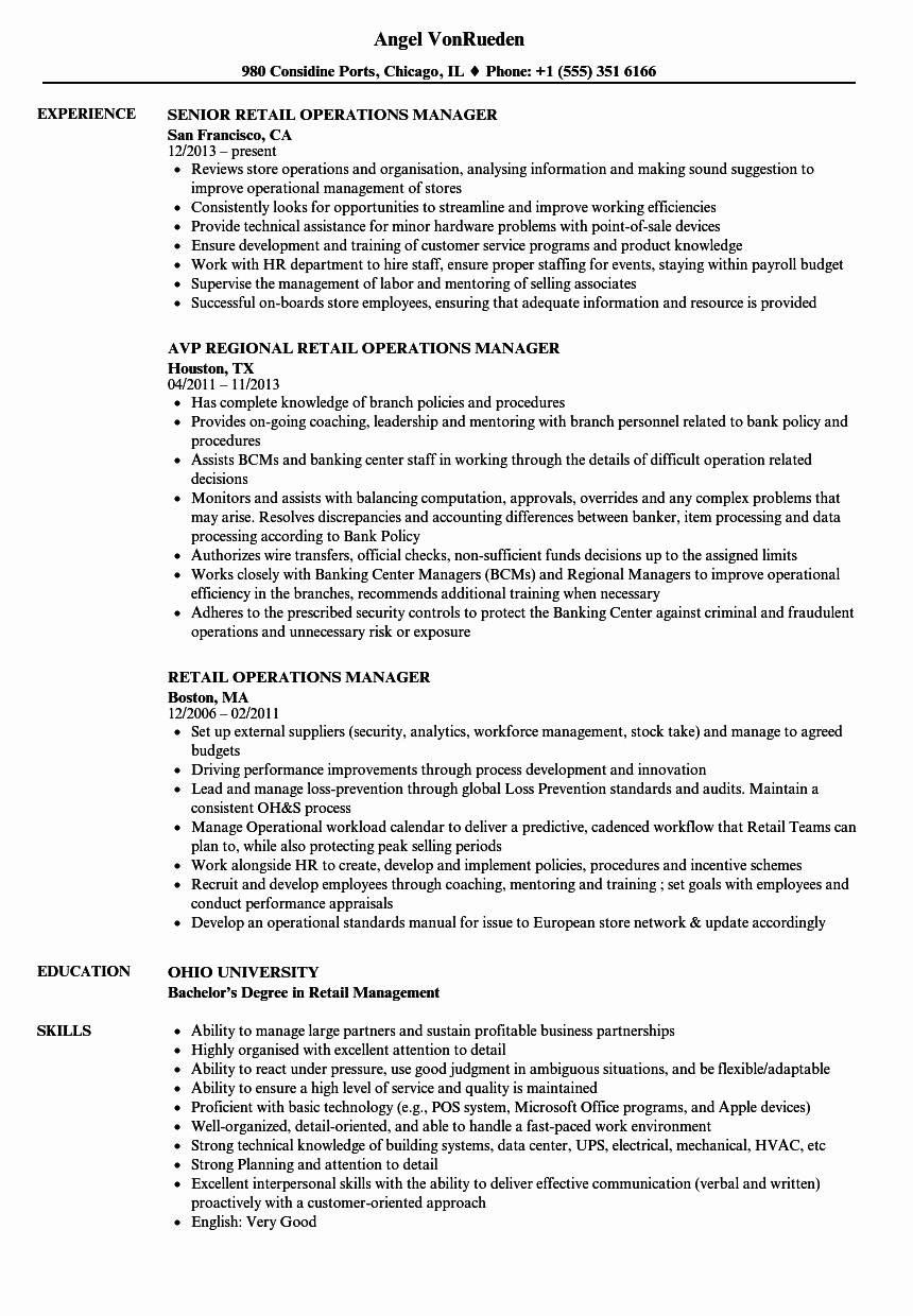 Retail Operations Manager Resume Samples