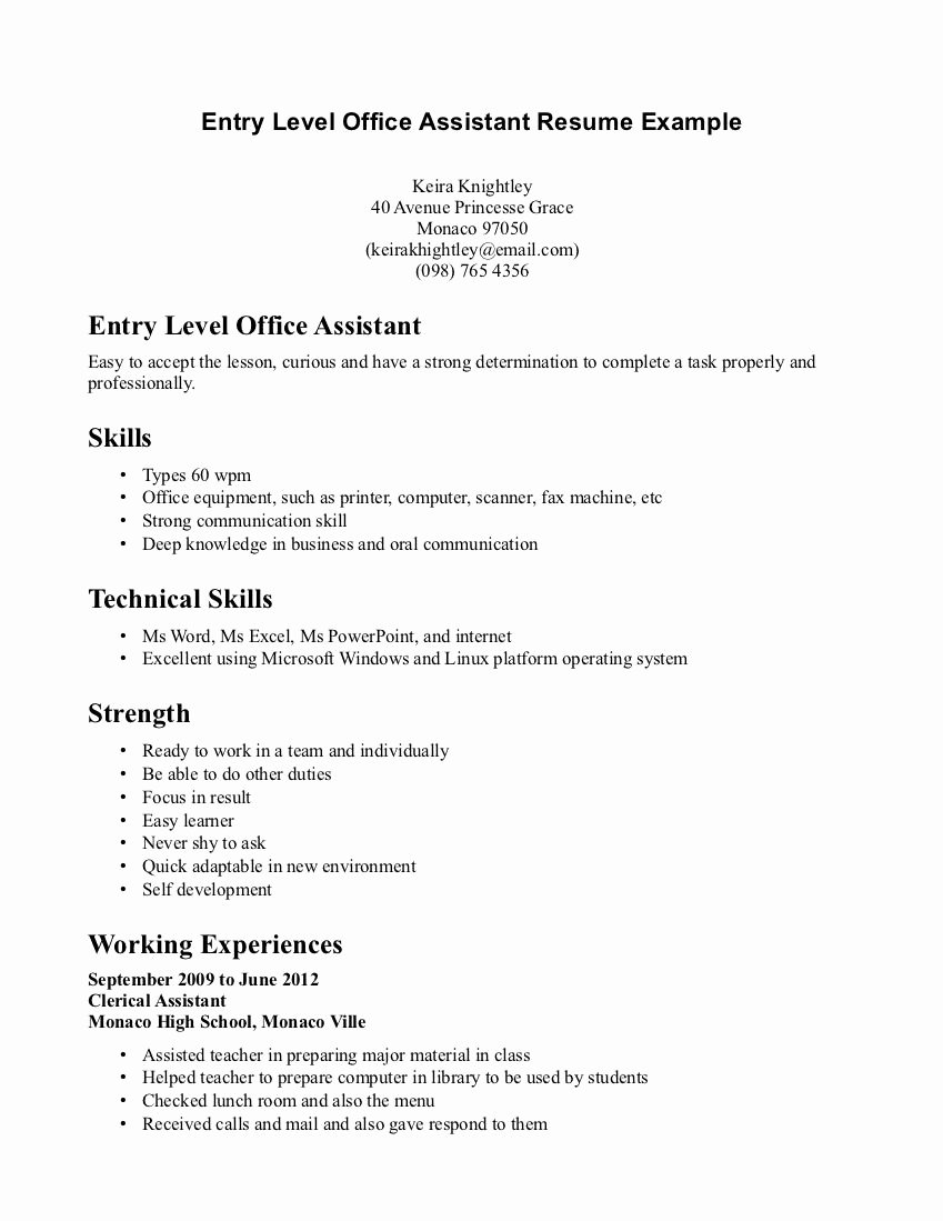 Retail Resume Example Entry Level