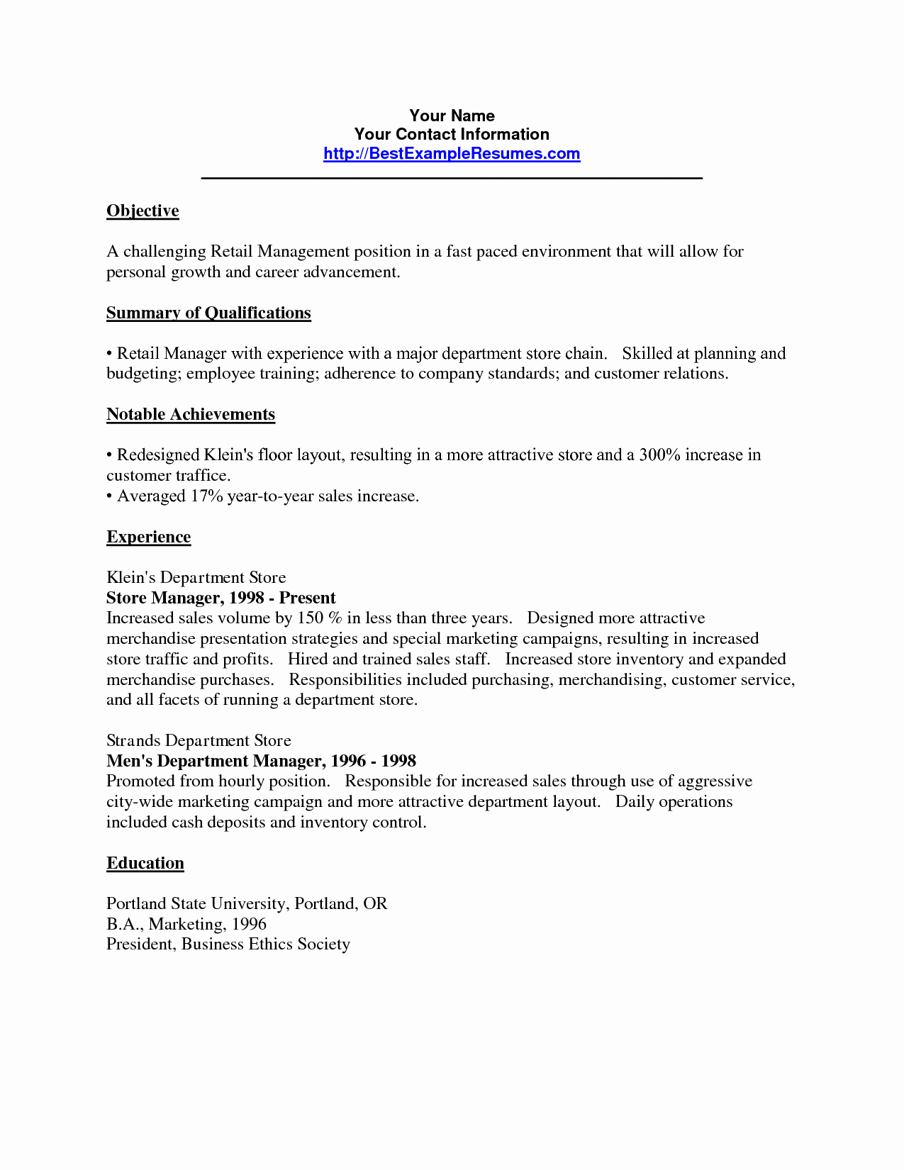 Retail Resume Objective Sample Resume Ideas