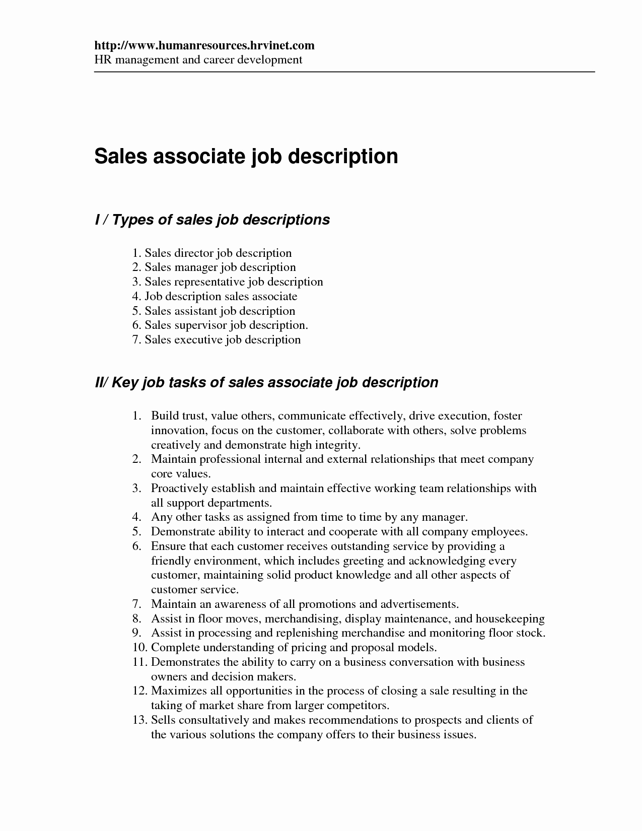 Retail Sales associate Job Description for Resume Resume