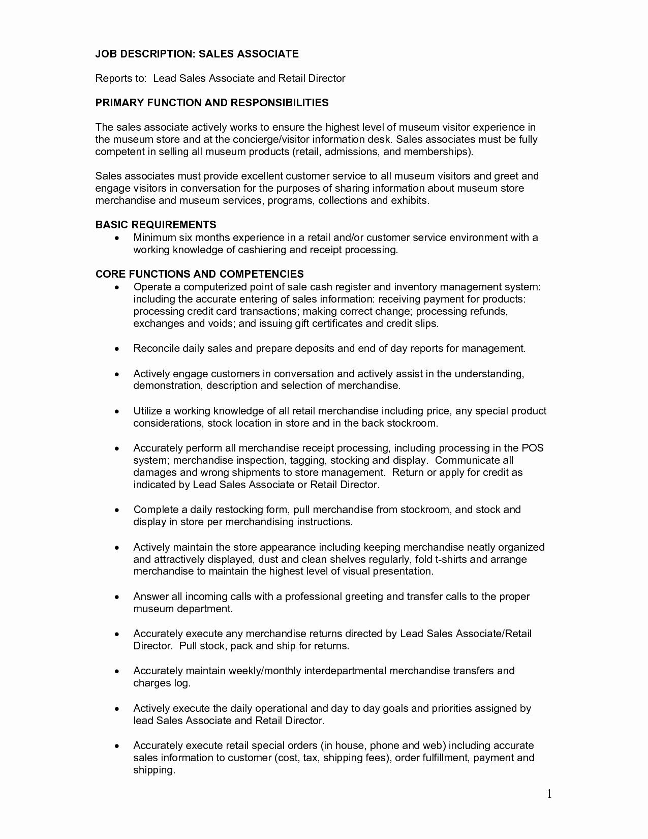 Retail Sales associate Resume Description Sales associate
