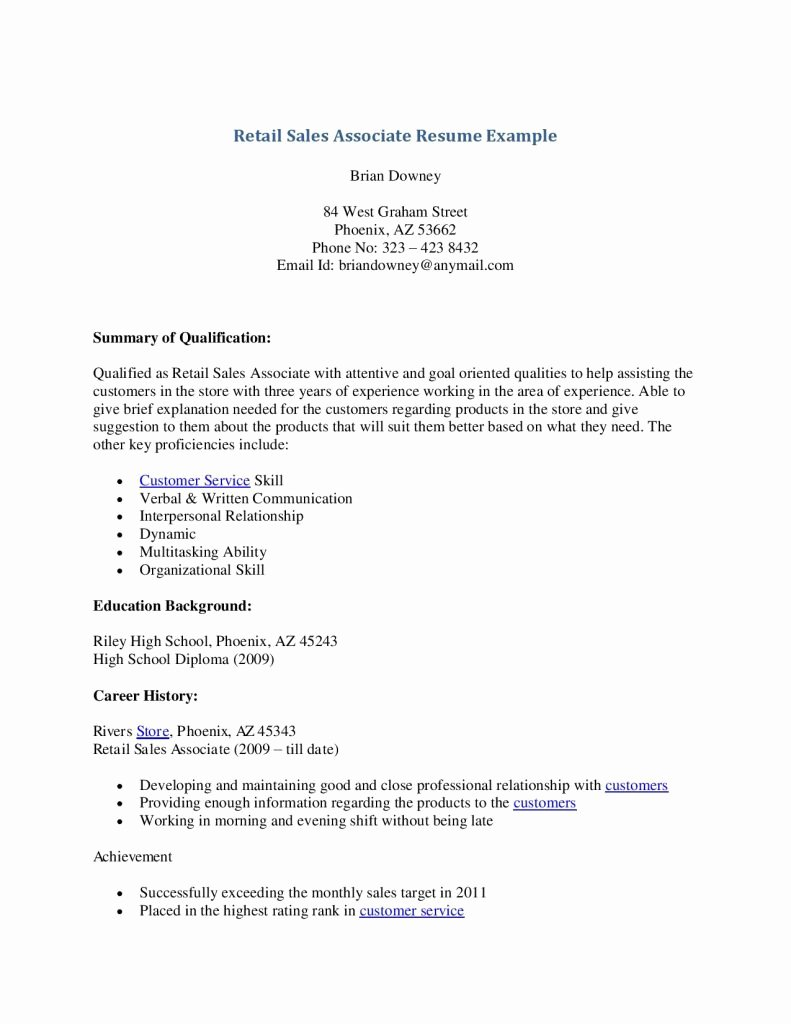 Retail Sales associate Resume Example Skills Description