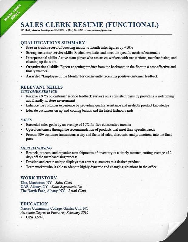 Retail Sales associate Resume Sample & Writing Guide