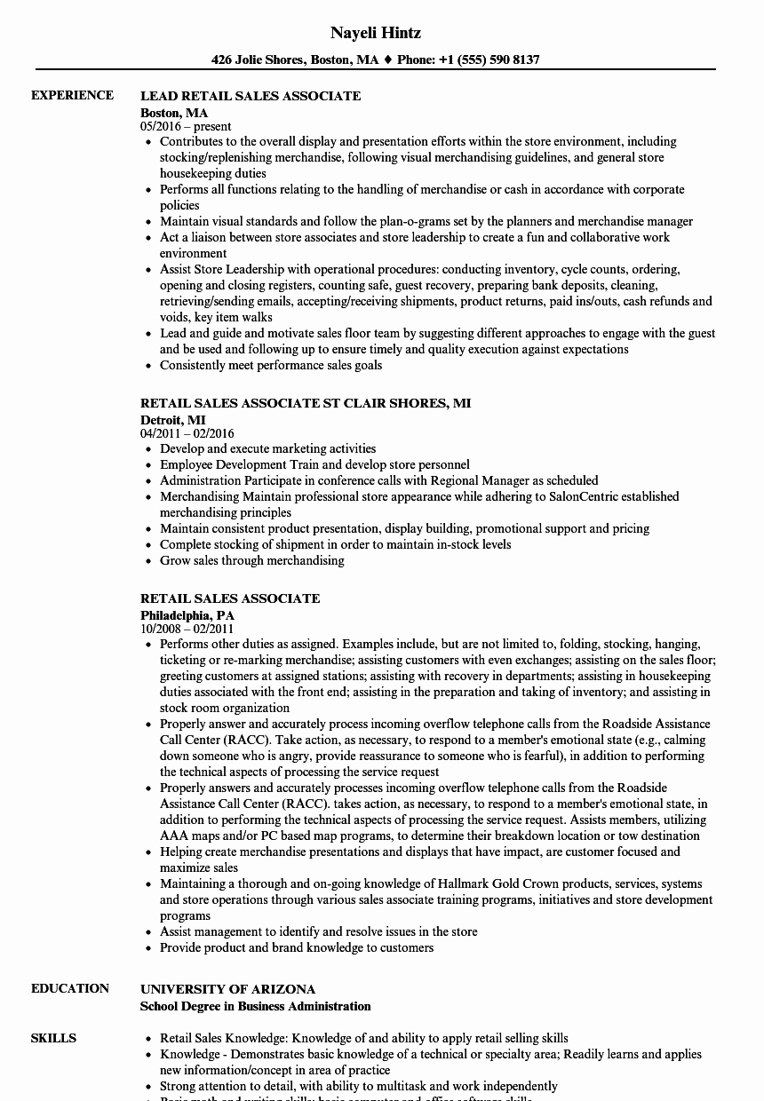 Retail Sales associate Resume Samples