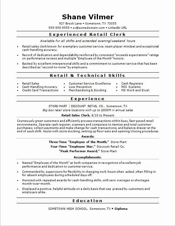 Retail Sales Clerk Resume Sample