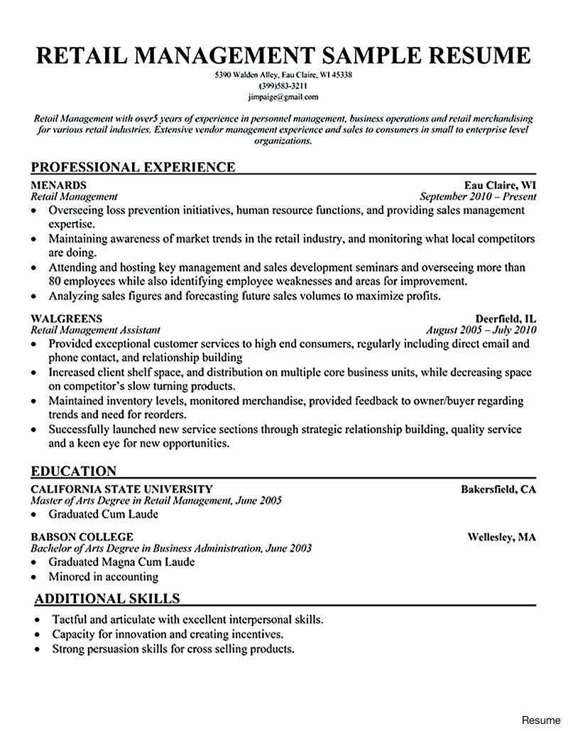 Retail Sales Manager Resumes Retail Store Manager Resume