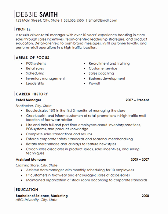 Retail Store Manager Resume Example Franchise Management