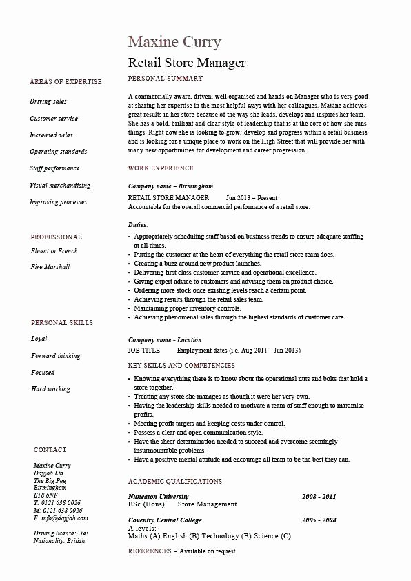 Retail Store Manager Resume Inspirational Retail assistant