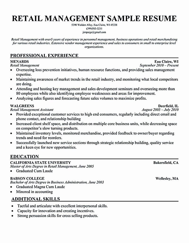 Retail Store Manager Resumes Examples Resume Sample Retail