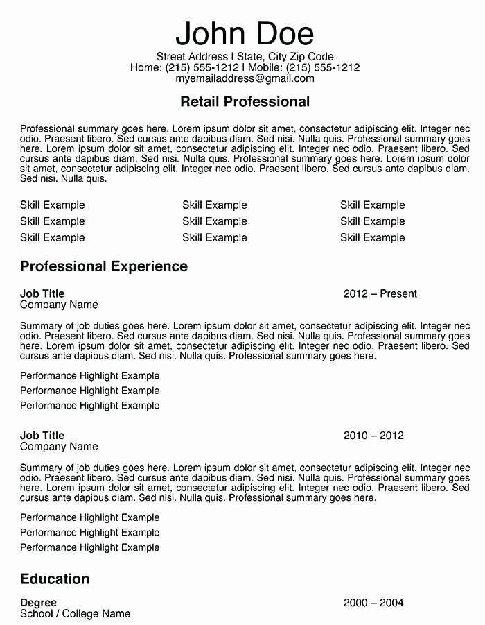 Retail Store Resume