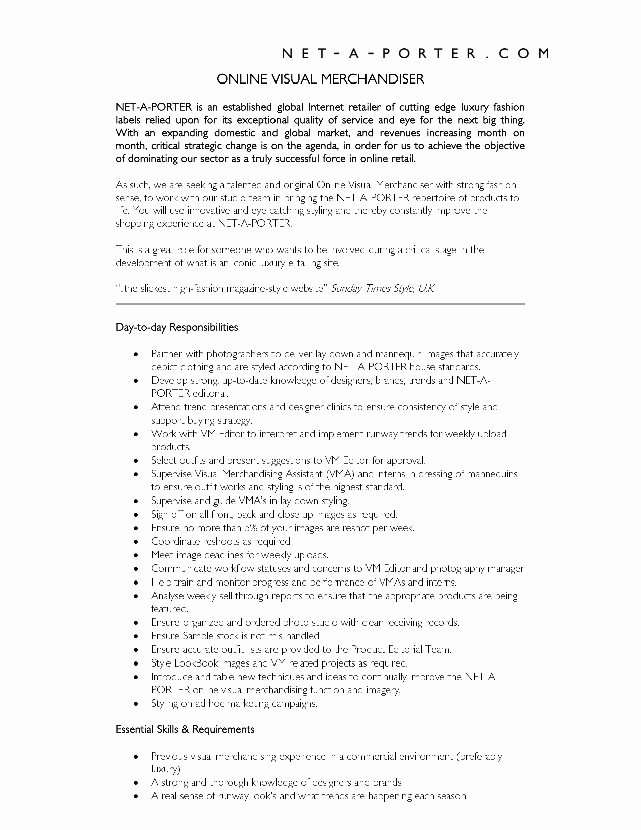 Retail Visual Merchandiser Resume Talktomartyb