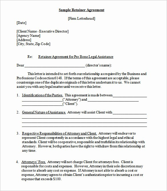 Retainer Contract Templates Doc Pdf