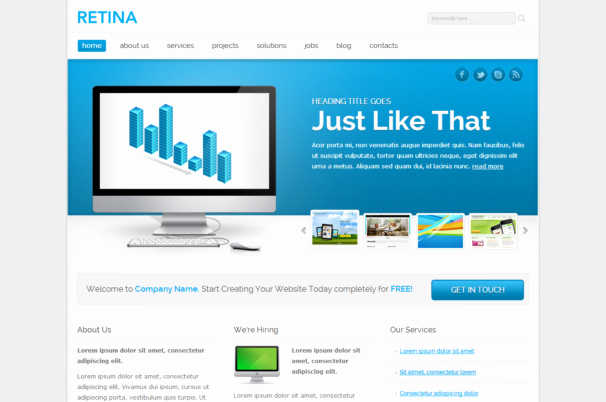 Retina Responsive HTML5 theme HTML5xcss3