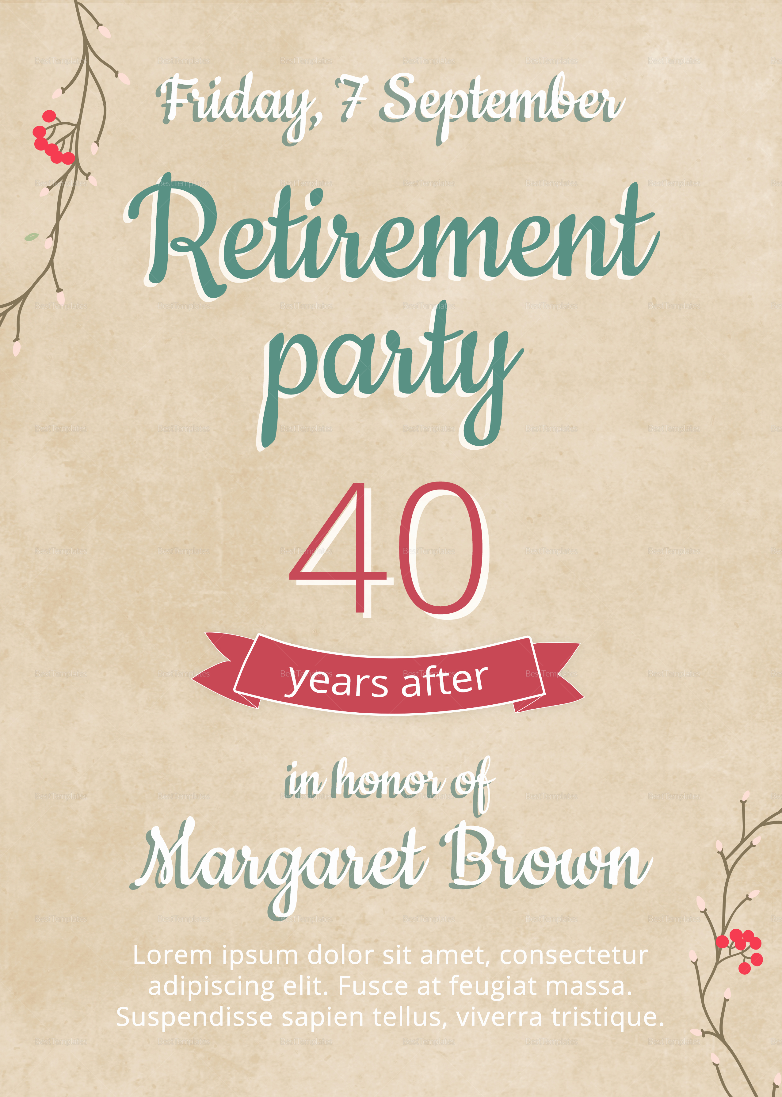 Retirement Party Flyer Design Template In Psd Word