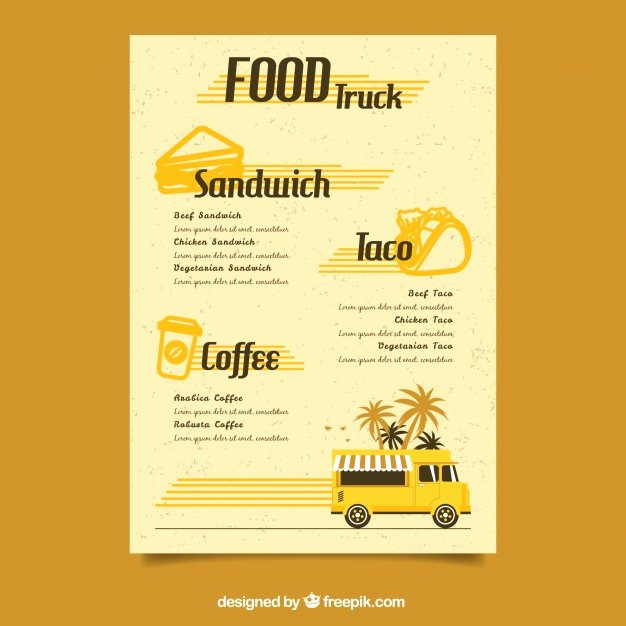 Retro Food Truck Menu Template Vector