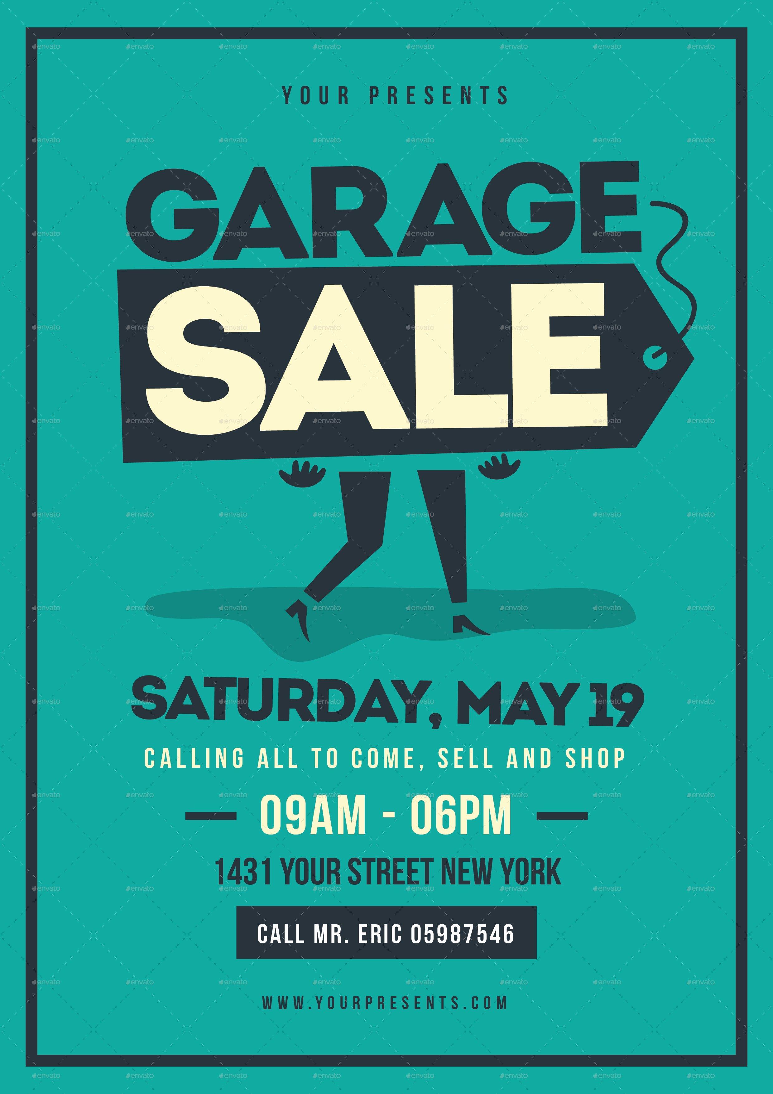 Retro Garage Sale Flyer by Lilynthesweetpea
