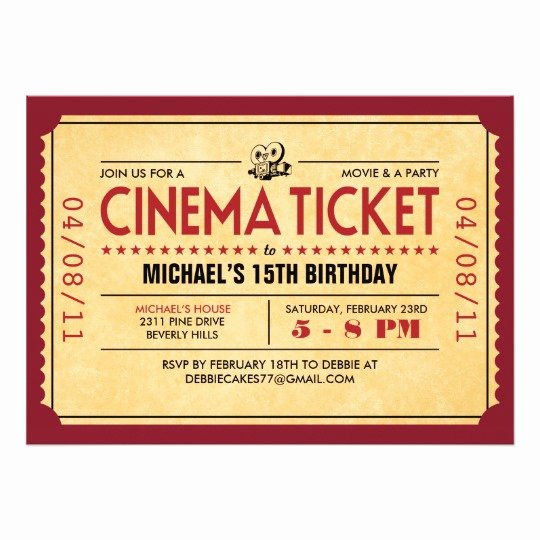 Retro Movie Ticket Invitations