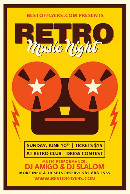 Retro Music Night Free Poster Template