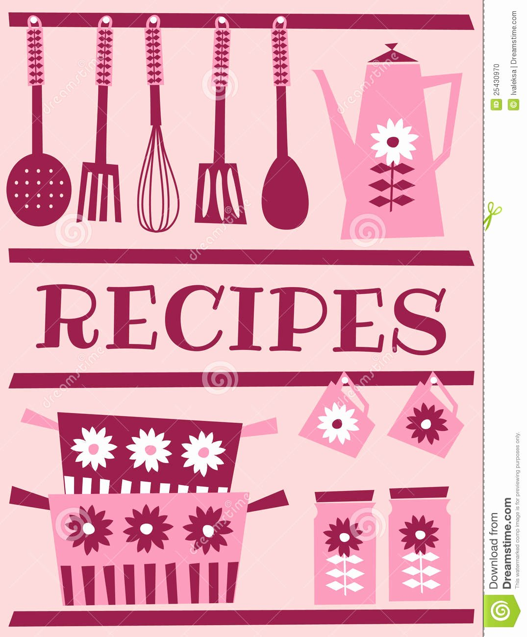 Retro Recipe Card Stock Vector Illustration Of Kitchen