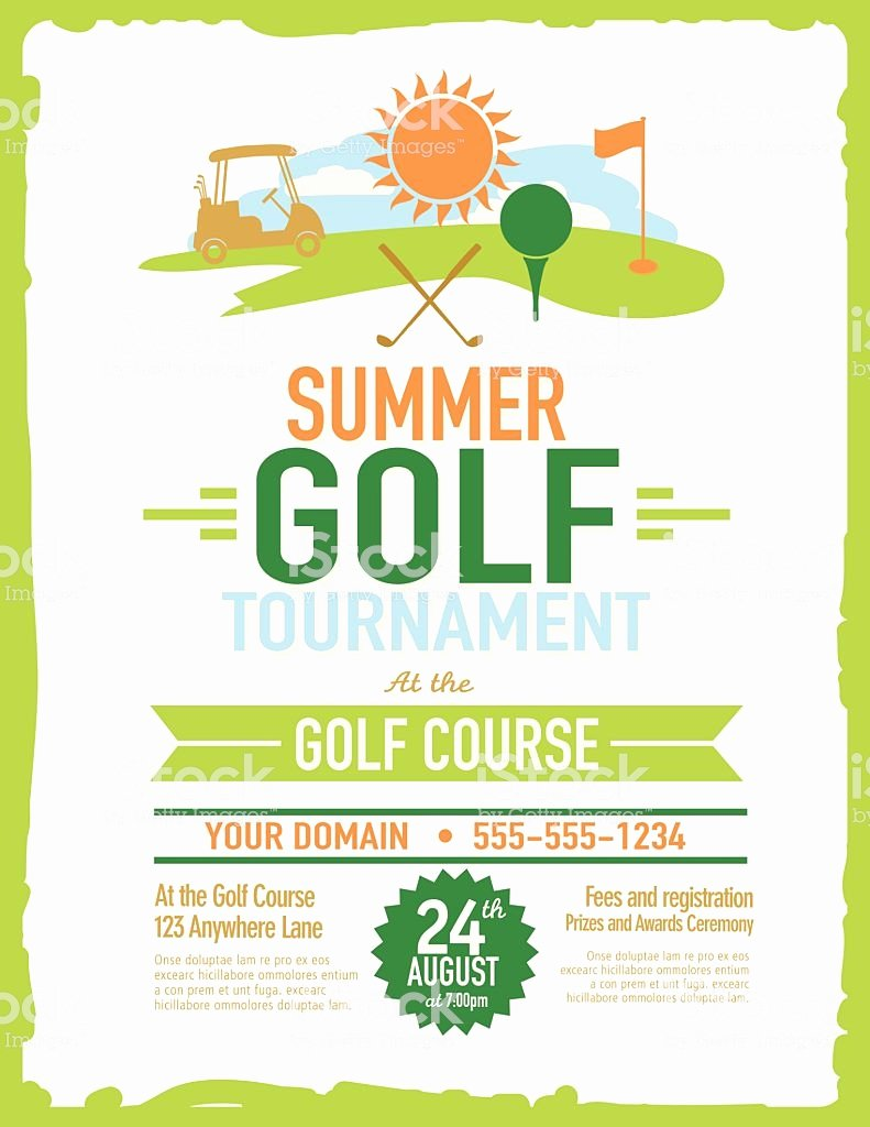 Retro Summer Golf tournament with Golf Cart Invitation