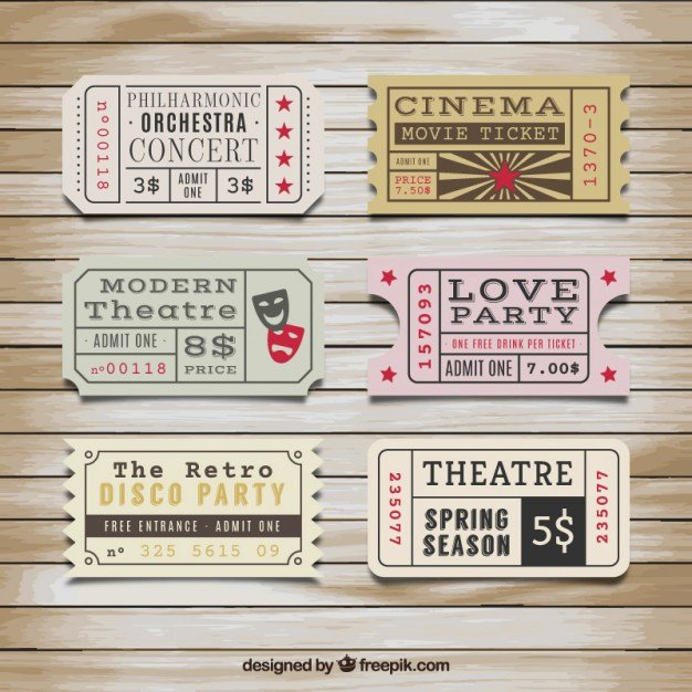 Retro Tickets Collection Vector