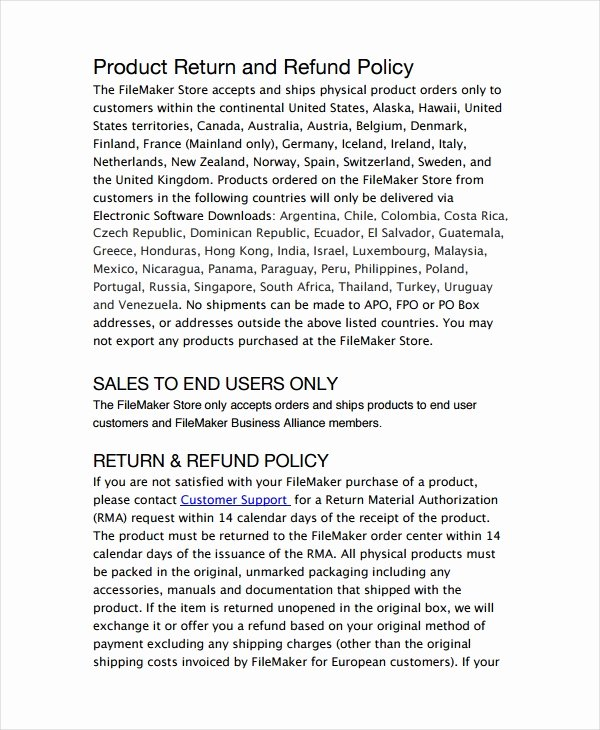 Return Policy Template 7 Free Word Pdf Document