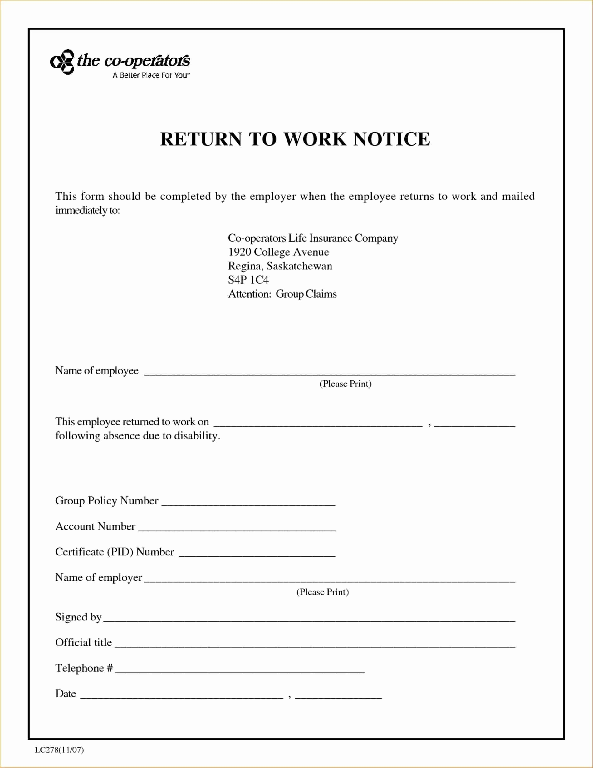 Return to Work Letter From Doctor Template