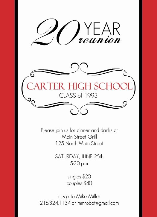 Reunion Invitations Classic Red and White 20 Year Class