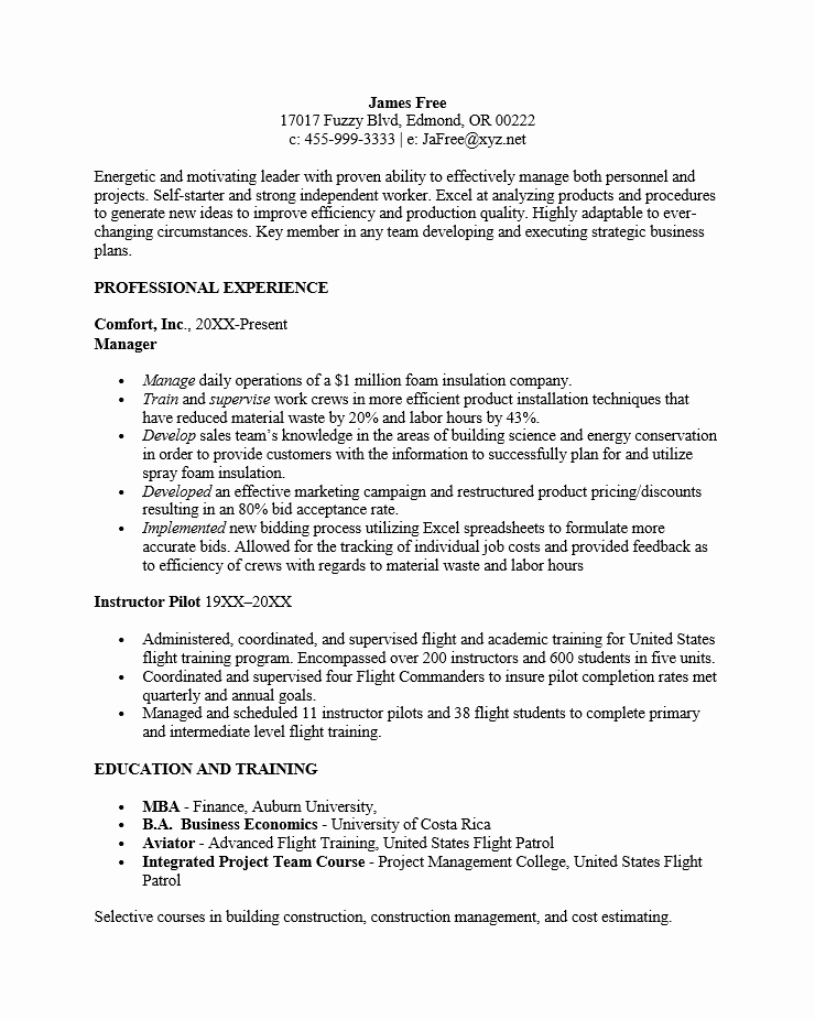 Reverse Chronological order Resume