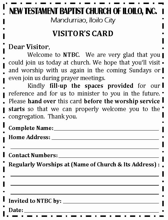 Revised Visitor's Card