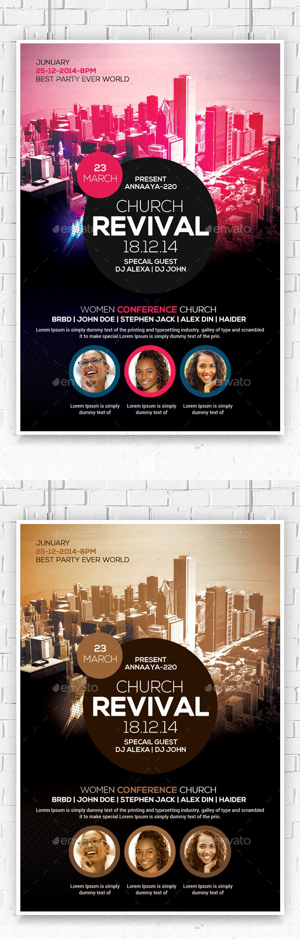Revival In the City Church Flyer Template by Anaya22