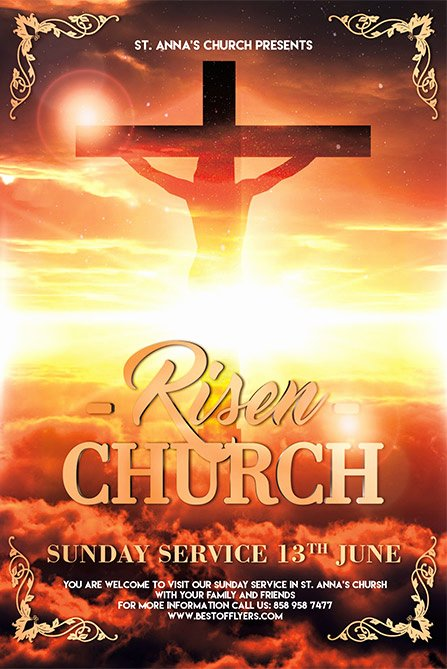 Risen Church Free Poster Template