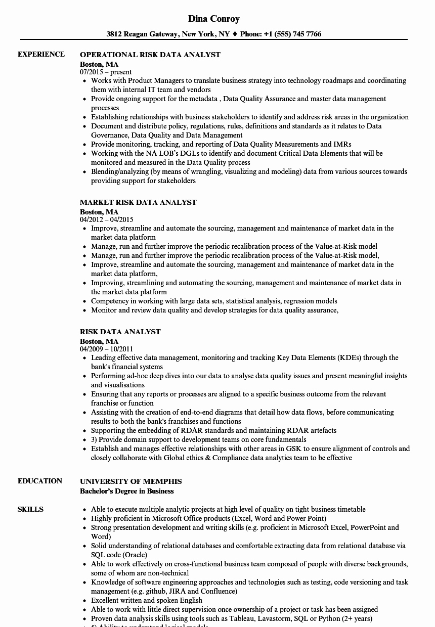 Risk Data Analyst Resume Samples