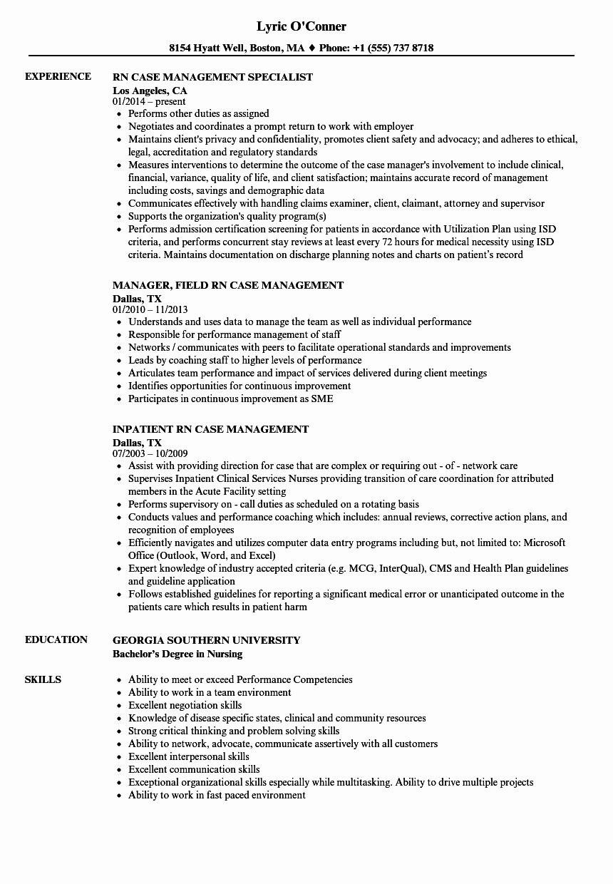Rn Case Management Resume Samples