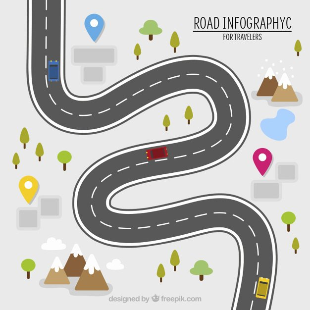 Road Infography for Travelers Vector