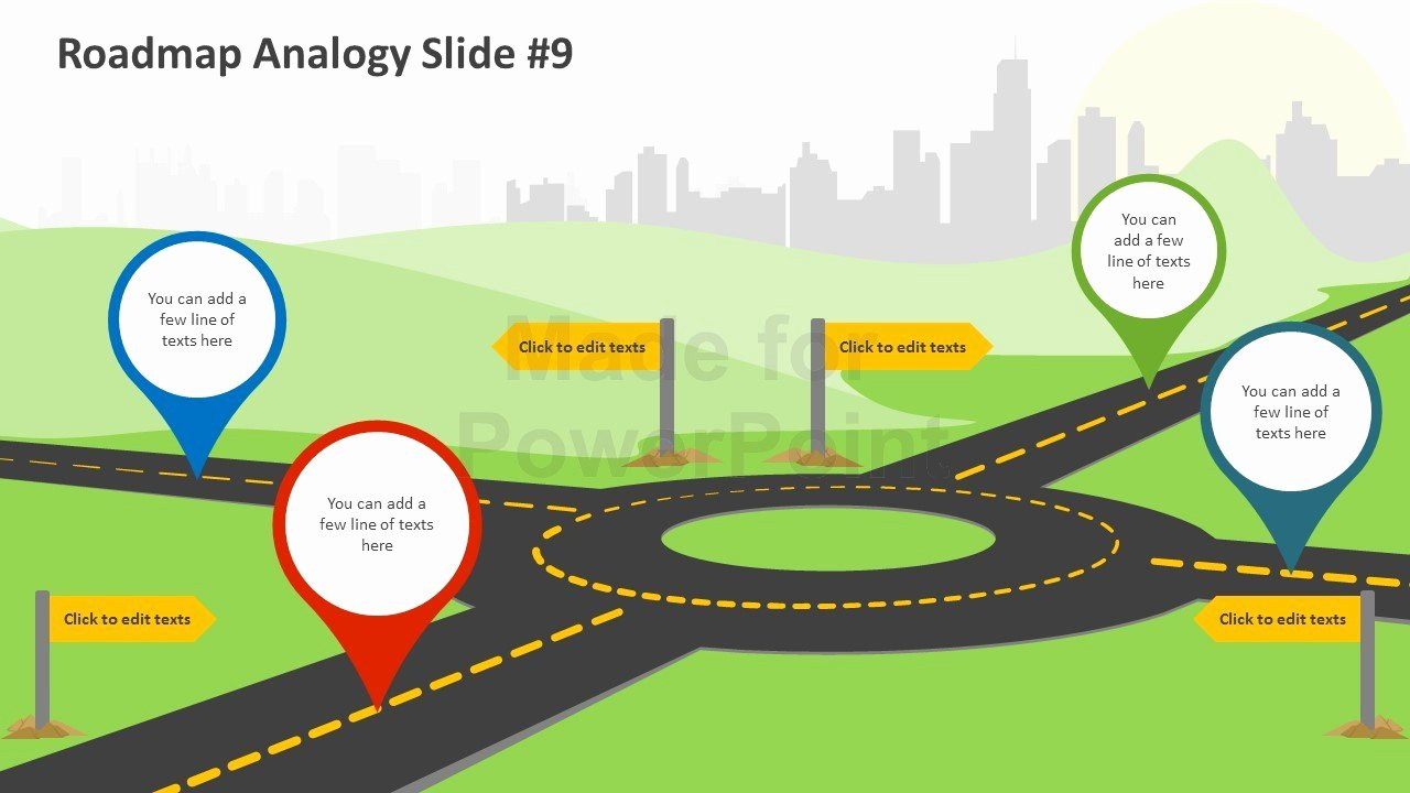 Roadmap Analogy Editable Powerpoint Slides