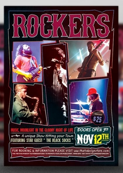 Rock Concert Flyer Free Template Psd