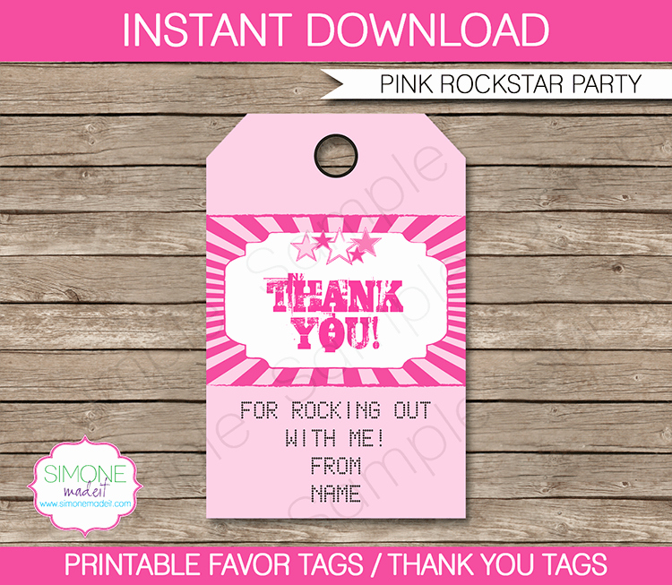 Rockstar Party Favor Tags Pink