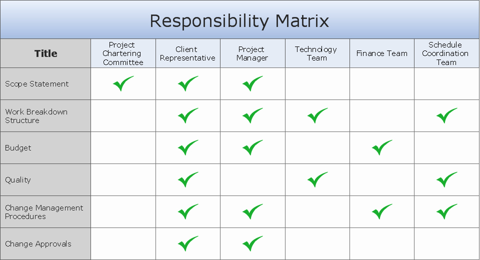 Role and Responsibilities Chart Templates Excel Template