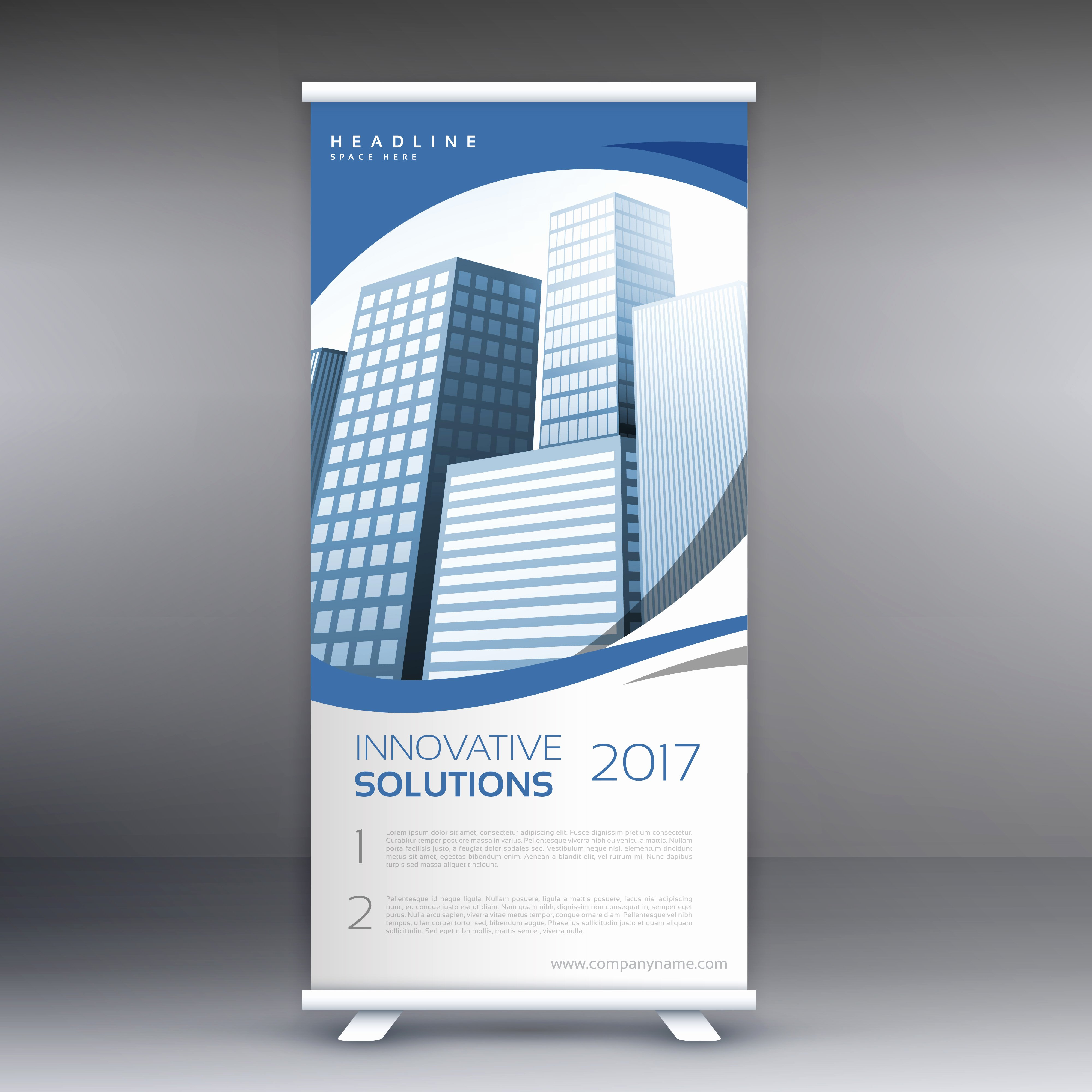 Roll Up Banner Template with Buildings Download Free