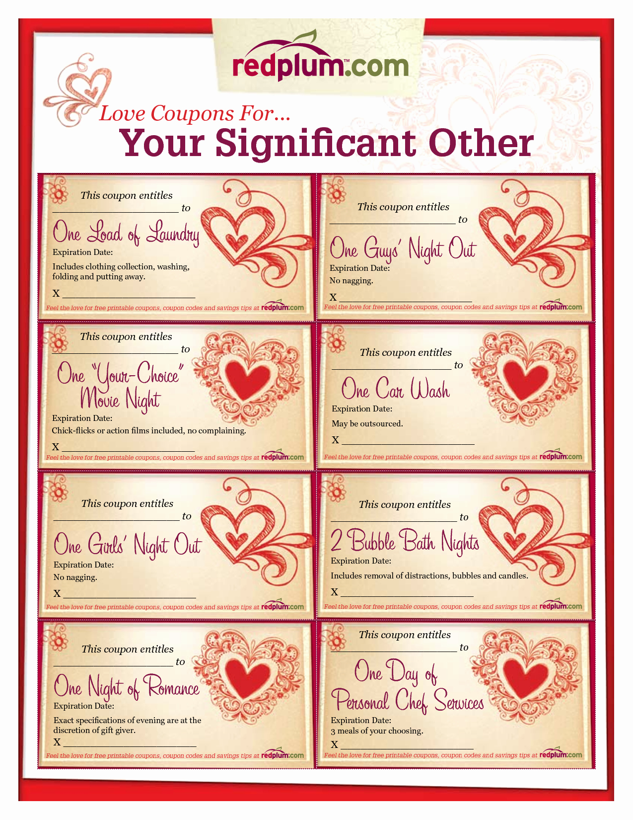 Romantic Love Coupon Template Printable