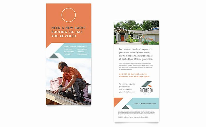 Roofing Pany Rack Card Template Design