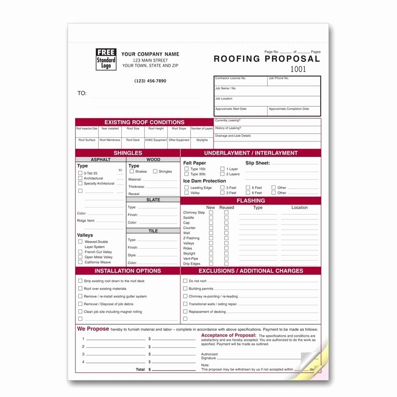 Roofing Proposal form Residential or Mercial