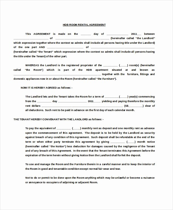 Room Rental Agreement Template – 11 Free Word Pdf Free