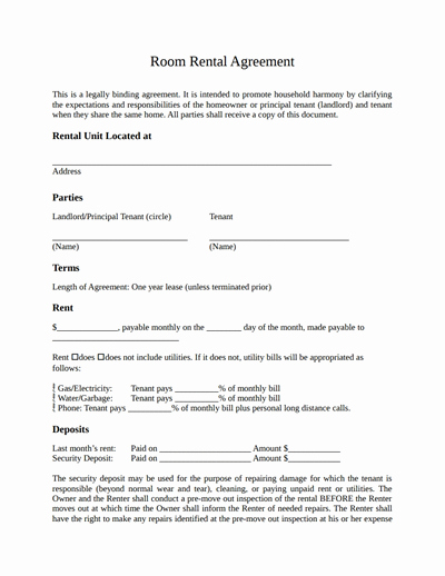 Room Rental Agreement Template Free Download Create