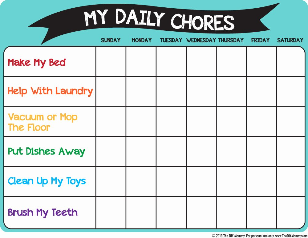 Roommate Chore Chart Template New Chore Chart Template New