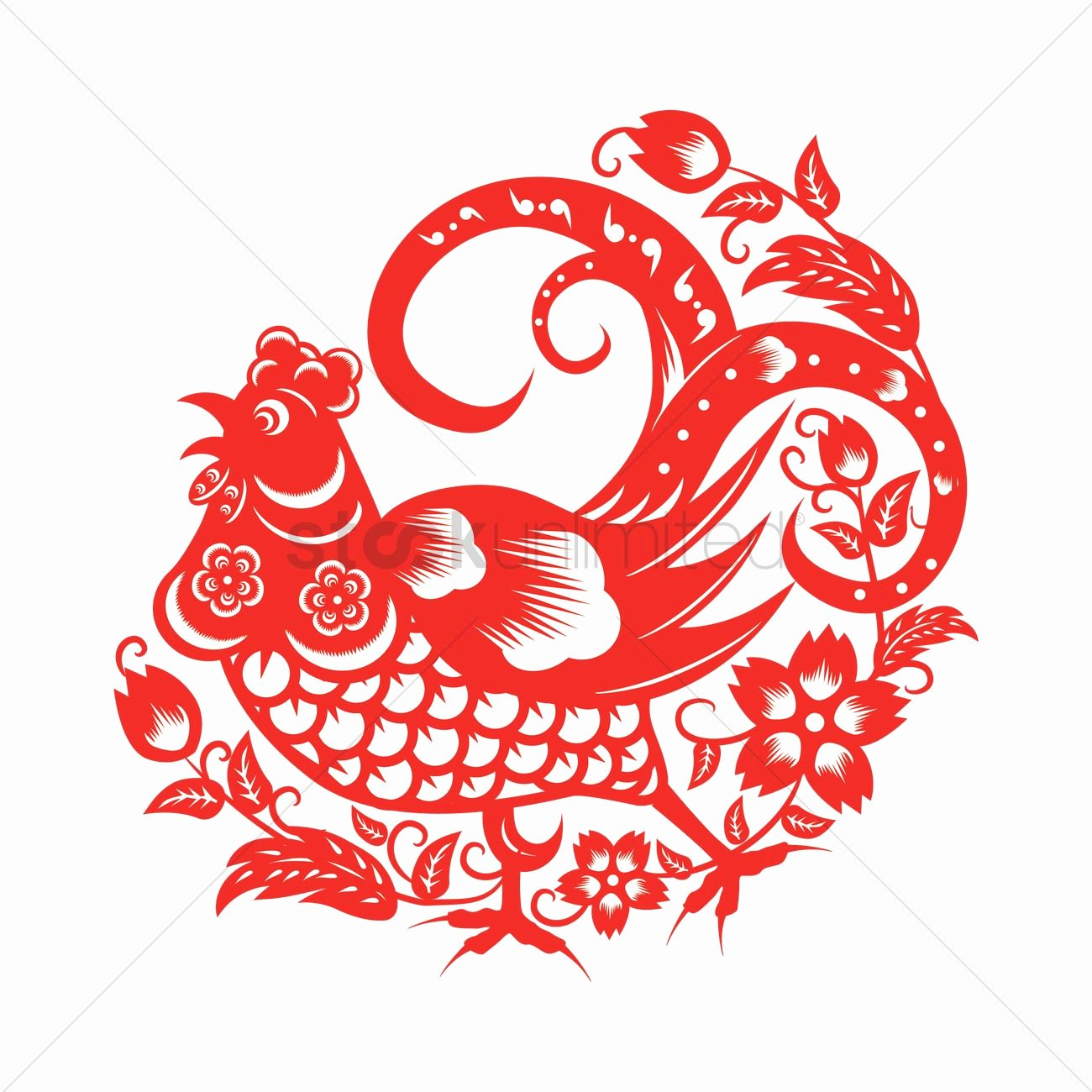 Rooster In Chinese Paper Cutting Vector Image