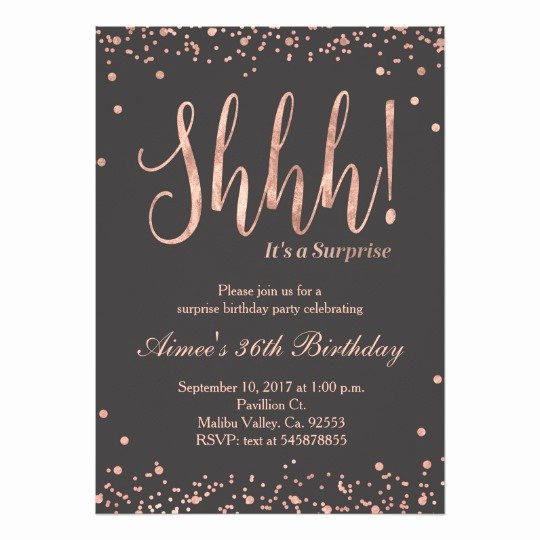 Rose Gold Surprise Birthday Party Invitation