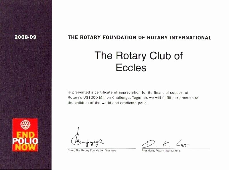 Rotary Certificate Appreciation Template Elegant 7