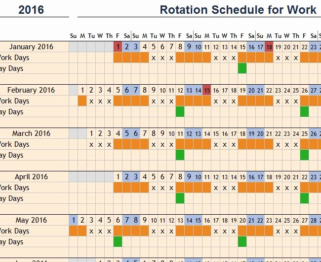 Rotation Schedule for Work My Excel Templates
